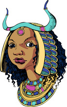 Beautiful Ancient Egyptian Girl. Suitable For Posters, Cards, Tattoo. Vector Illustration. Engraving Style