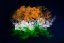 India Flag Smoke Effect On Bla...
