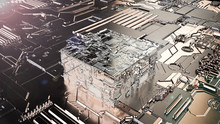 3D Illustration Of An Abstract Cube. Futuristic Drawing For The Desktop. The Idea Of Development Of Electronics, Artificial Intelligence, IT Technologies. 3D Rendering, Abstract Background