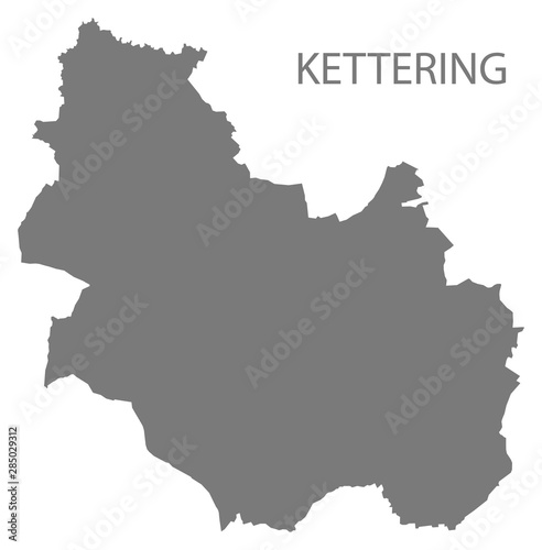 Fotografie, Obraz  Kettering grey district map of East Midlands England UK