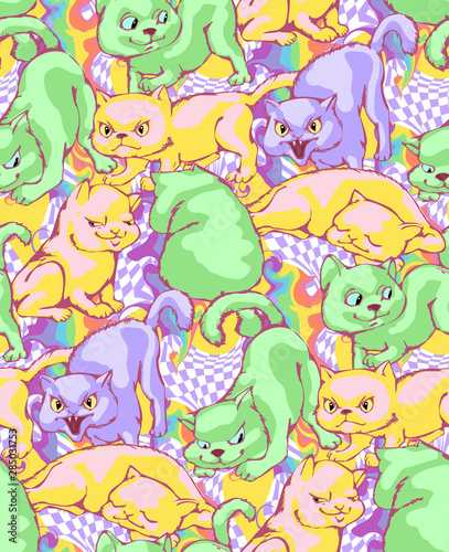 Cute cats. Seamless pattern. Vector illustration. Will be well to look in the design of children's room - design curtains, wallpapers, fabrics for furniture.