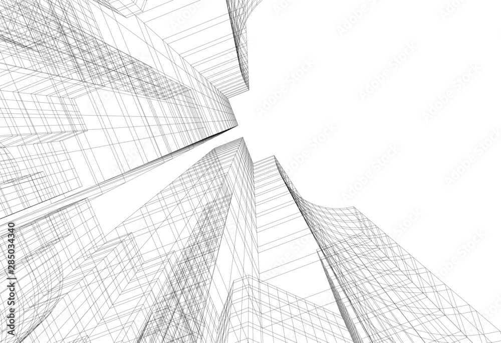Fototapeta Modern building architecture 3d illustration