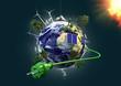 canvas print picture - Energiegewinnung und Umweltschutz - Planet Erde mit Stromkabel