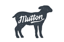 Mutton, Sheep, Lamb. Lettering...