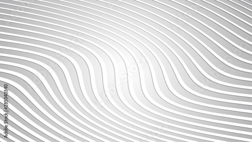 Fotobehang Fractal waves Abstract White Wavy Lines Background Texture with White and Grey Gradient Backdrop Abstract Pattern Vector illustration