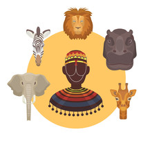 African Animals And Human Heads And Afro Vector Illustration Lion, Elephant, Giraffe With Zebra And Hippopotamus. Collection Of Wild African Animal Heads Or Masks Of Totem.