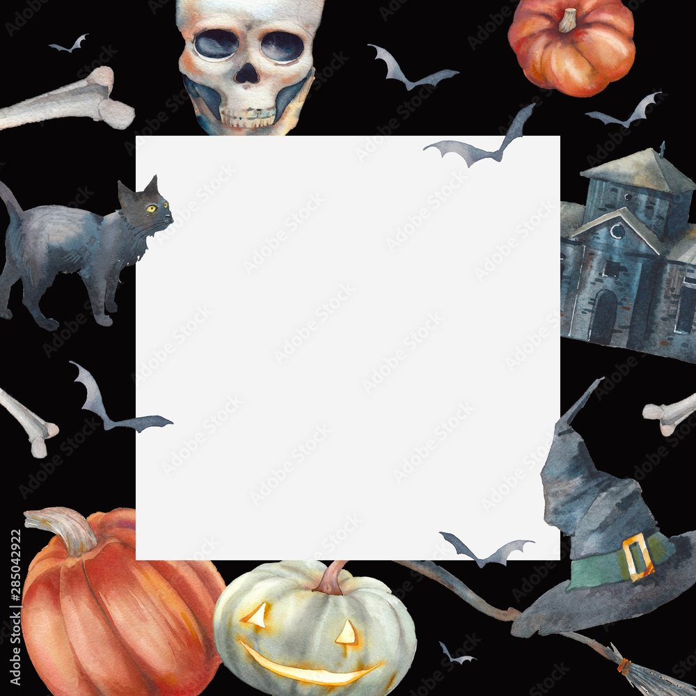 Fototapety, obrazy: Watercolor Halloween card design. Hand drawn holiday frame on black background. Retro scary house, broom, skull, bones, witch hat, pumpkins, black cat and bats