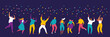 Party, celebration, event horizontal banner. Young People dancing and have fun. Friendship. Student party. Male and female flat characters isolated on dark background.