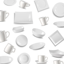 Kitchen Tableware Items Pattern, Vector Illustration. Ceramic Utensils Or Crockery - Cups, Dishes, Saucers And Plates For Home. White Shining Kitchen Tableware.