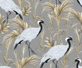 Seamless pattern with japanese cranes and golden reeds - 285045783
