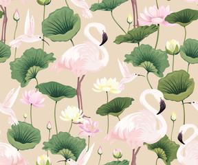 FototapetaSeamless pattern with pink flamingos, hummingbirds and lotuses