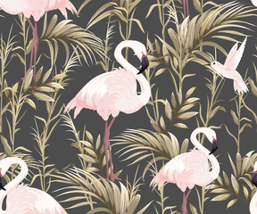 FototapetaSeamless pattern with pink flamingos and golden plants