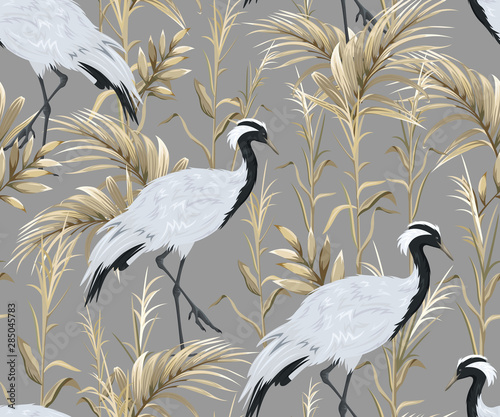 Seamless pattern with japanese cranes and golden reeds Fotobehang
