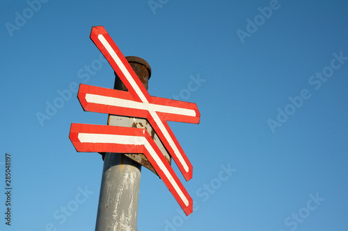 Railroad and railway crossing - traffi sign as warn and alert Canvas-taulu