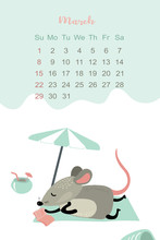 March Month 2020 Template Design. Calendar 2020 With Funny And Cute Rat.