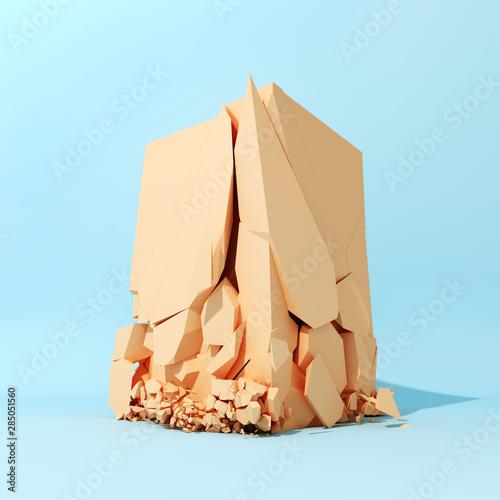 Fotografie, Obraz  Cube breaks down on surface