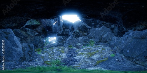 vr 360 camera inside tropical cave in jungle with palms and sun light Fototapete