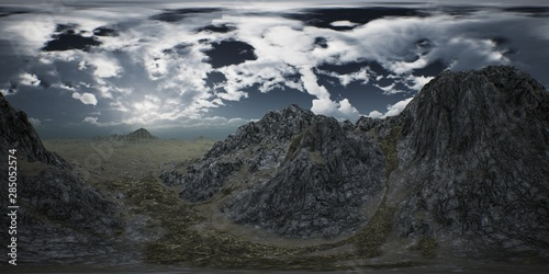 Foto auf Gartenposter Grau Verkehrs VR 360 Huge Dark Clouds over Scottish Highlands