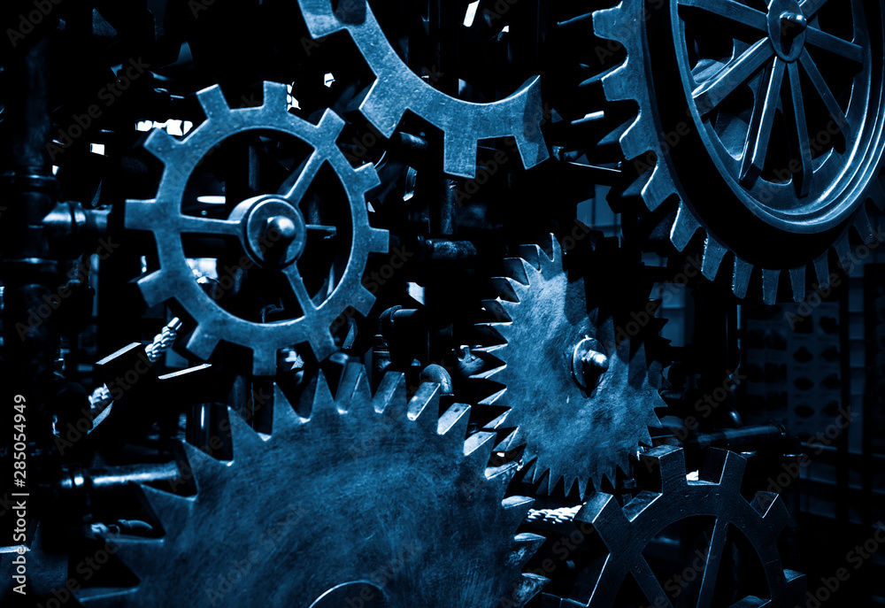 Fototapeta Large cog wheels in the motor