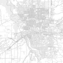 Spokane, Washington, USA, Bright Outlined Vector Map