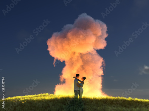 Türaufkleber Blaue Nacht young couple hugs on the background of the explosion