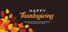 Happy Thanksgiving Day Text Minimal Background With Dry Fall Leaves Vector Illustration.