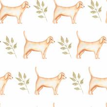 Watercolor Farm; Seamless Pattern.Domestic Dog Animals. Hand Drawn Background. Village Life.