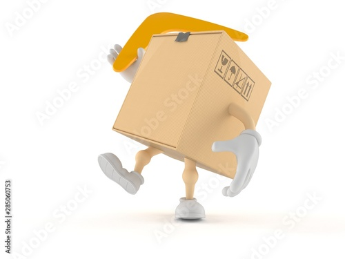 Package character throwing boomerang Canvas Print