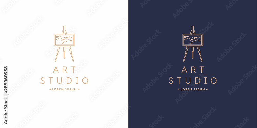 Fototapety, obrazy: The original linear image of the art Studio. Isolated vector emblem.