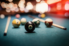 Colorful Billiard Balls On Table Close Up