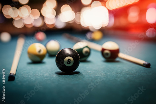 Fotografie, Tablou  Colorful billiard balls on table close up