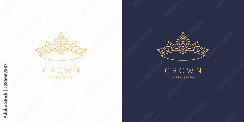 Fototapeta Original linear image of the crown. Isolated vector emblem. Illustration in simple flat style.