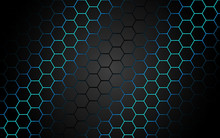 Abstract Blue Light Hexagon Line In Grey Modern Luxury Futuristic Background Vector Illustration.