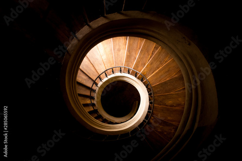 Gothic staircase in medieval church. Spiral stairs. Canvas