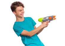 Portrait Of Happy Teen Boy Pla...