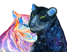 Watercolor Black Panther With Galaxy And Wild Tiger Isolated On White Background. Hand Painted Animals Illustration.