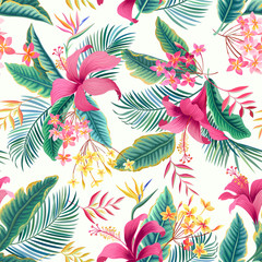 Fototapeta Do jadalni seamless floral pattern with tropical leaves and hibiscus
