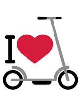 I Love Liebe Herz Tretroller E...
