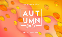 Horizontal Colorful Background With 3D Abstract Liquid Layers, Paper Cut Waves, Realistic Fall Leaves. Autumn Vector Background Design Layout For Banners, Presentations, Flyers, Posters, Wallpaper