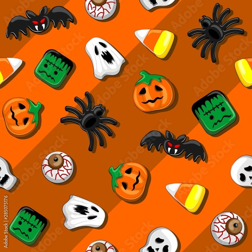 Foto auf AluDibond Ziehen Halloween Spooky Candies Party Seamless Vector Textile Pattern