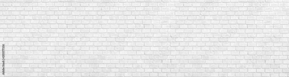 Fototapety, obrazy: panorana black and White Structural Brick Wall. Panoramic Solid Surface. stone background.