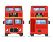 London Double Decker Red Bus Cartoon Illustration, English UK British Tour Front Isolated Flat Bus Icon