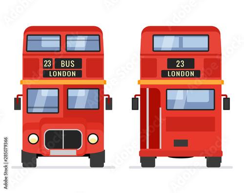 Fotografie, Tablou  London double decker red bus cartoon illustration, English UK british tour front