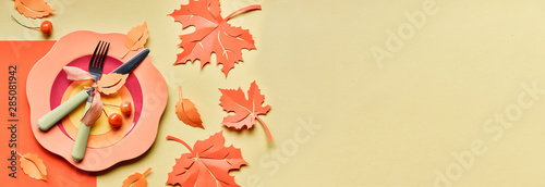 Table setup for Autumn celebration, panoramic image with copy-space Fototapet