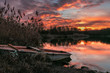 canvas print picture - Sonnenuntergang am See
