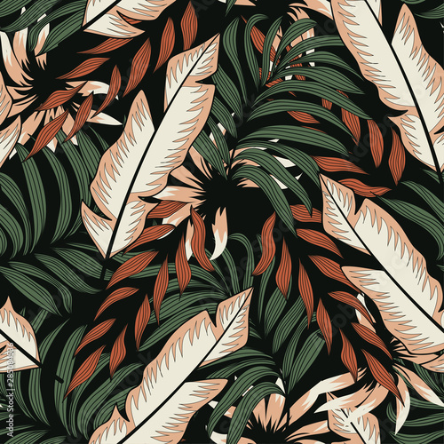 Printed kitchen splashbacks Watercolor Nature Abstract seamless pattern with colorful tropical leaves and plants on black background. Vector design. Jungle print. Floral background. Printing and textiles. Exotic tropics. Summer.