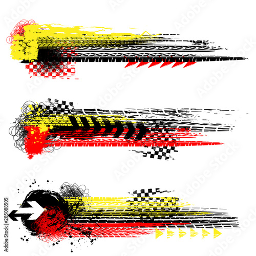 Three different grunge tire track banners with color ink blots elements isolated on white background Wall mural