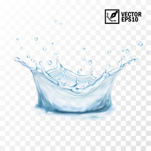 Realistic Transparent Isolated Vector Splash Of Water With Drops. Editable Handmade Mesh