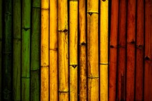 Green Yellow Red On Bamboo Wall Texture  Reggae Background Concept