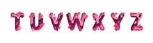 Paper Cut Letter T, U, V, W, X, Y, Z. Design 3d Sign Isolated On White Background. Alphabet Font Of Melting Liquid.